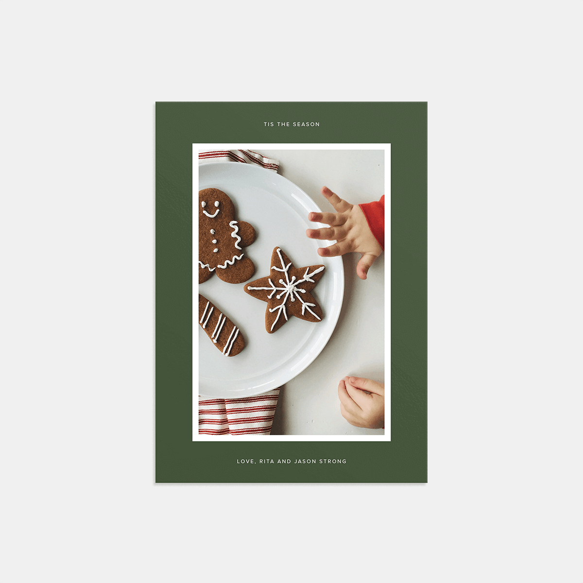 Same photo of cookie plate on holiday card with green border
