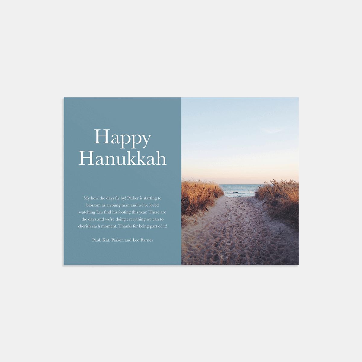 Same photo of footprints in sand on Happy Hanukkah card
