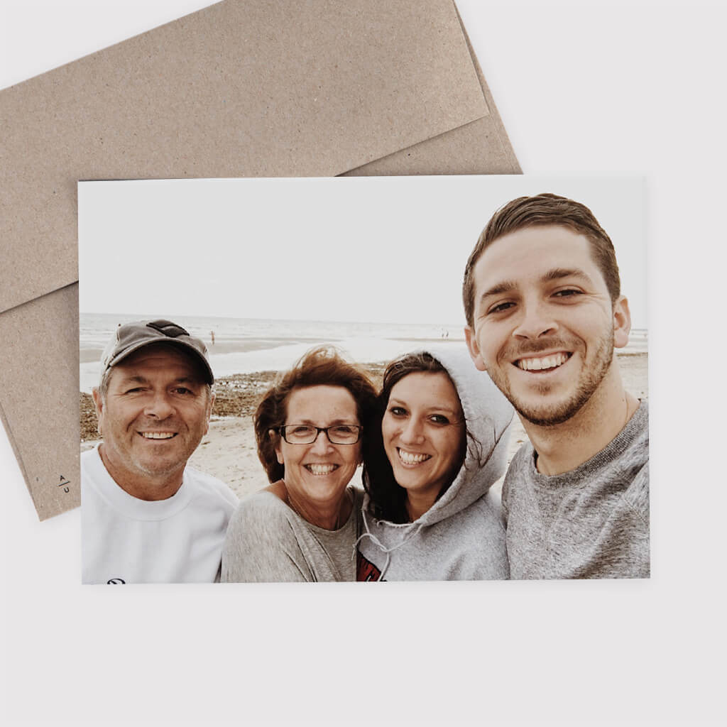 photo of family with no lettering on front of holiday card