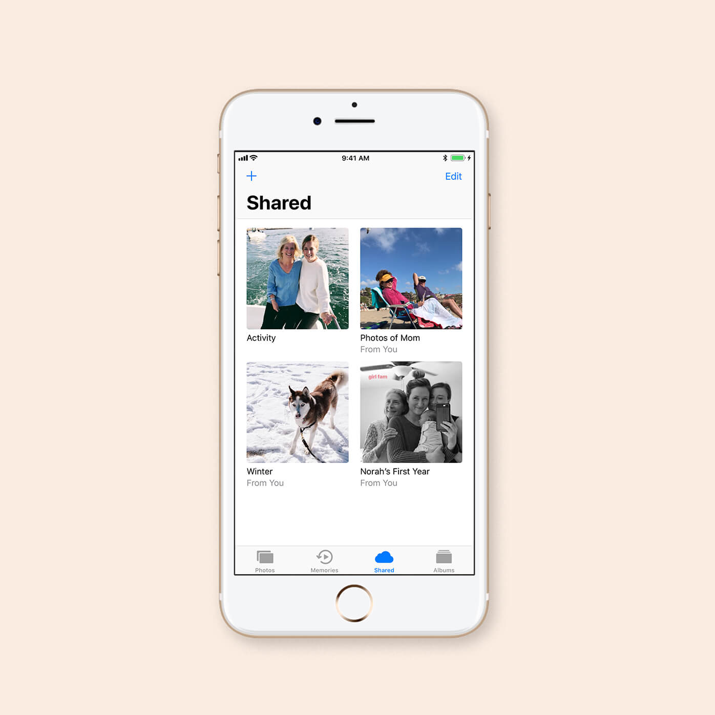 how to use a shared album on iphone