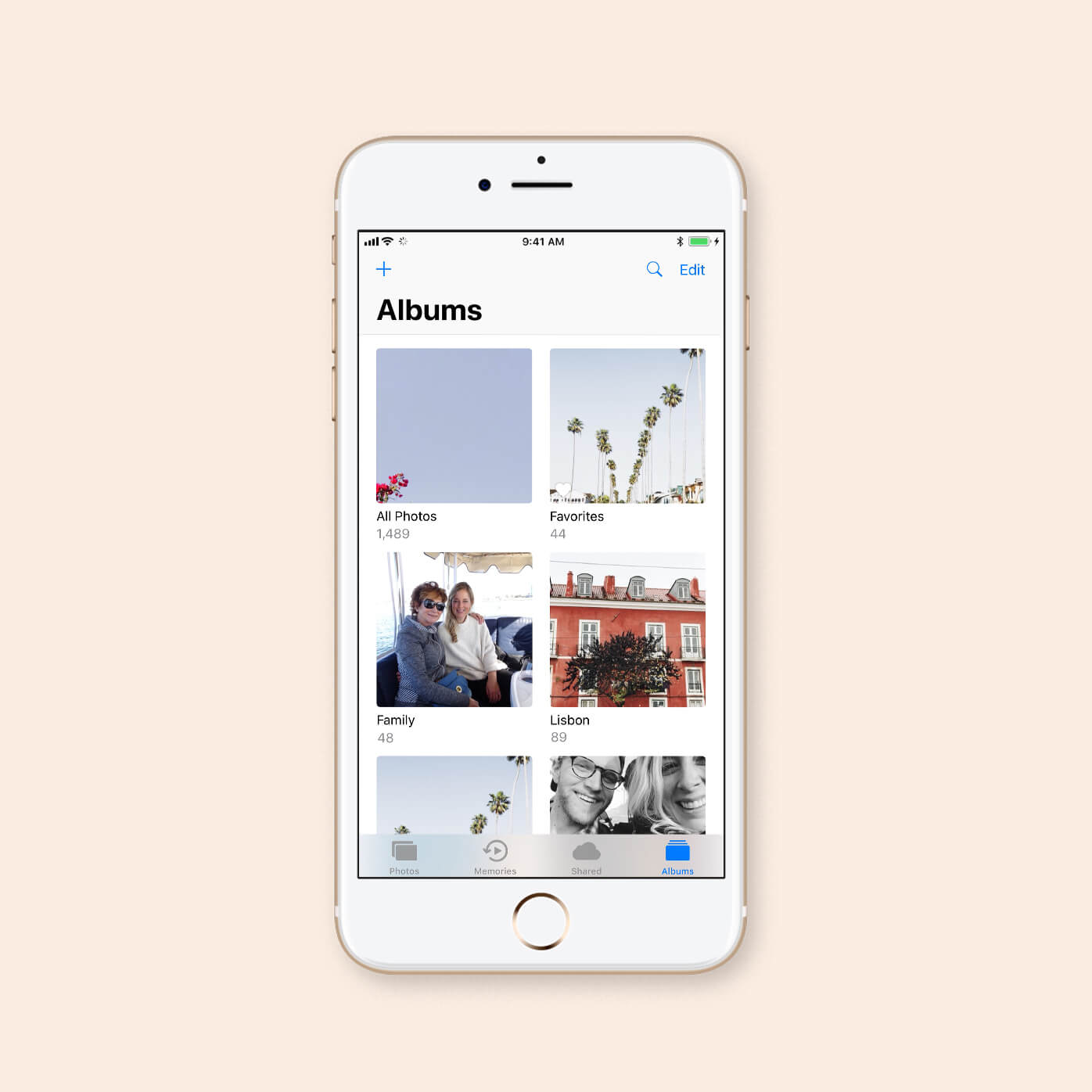 grid of photo albums on iphone screen