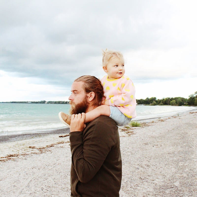 Photo of father with little girl on shoulders from Father's Day album