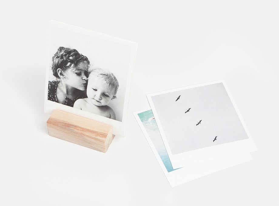 Photo prints and wooden print holder
