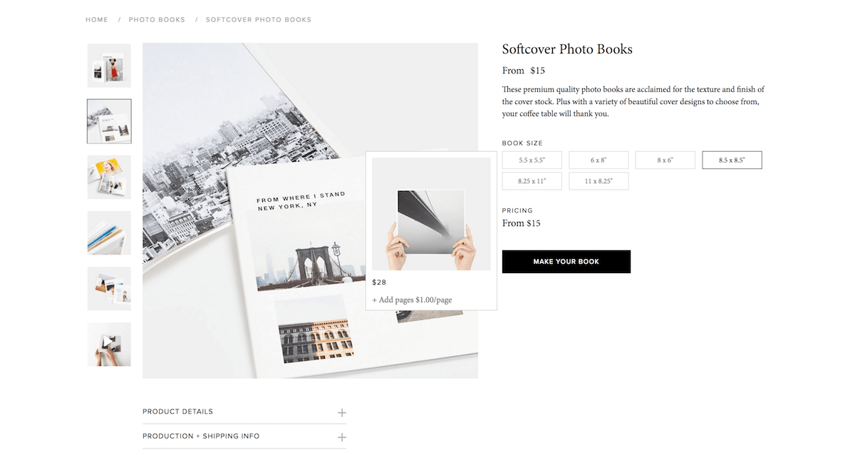 screenshot of webpage for Artifact Uprising Softcover Photo Books