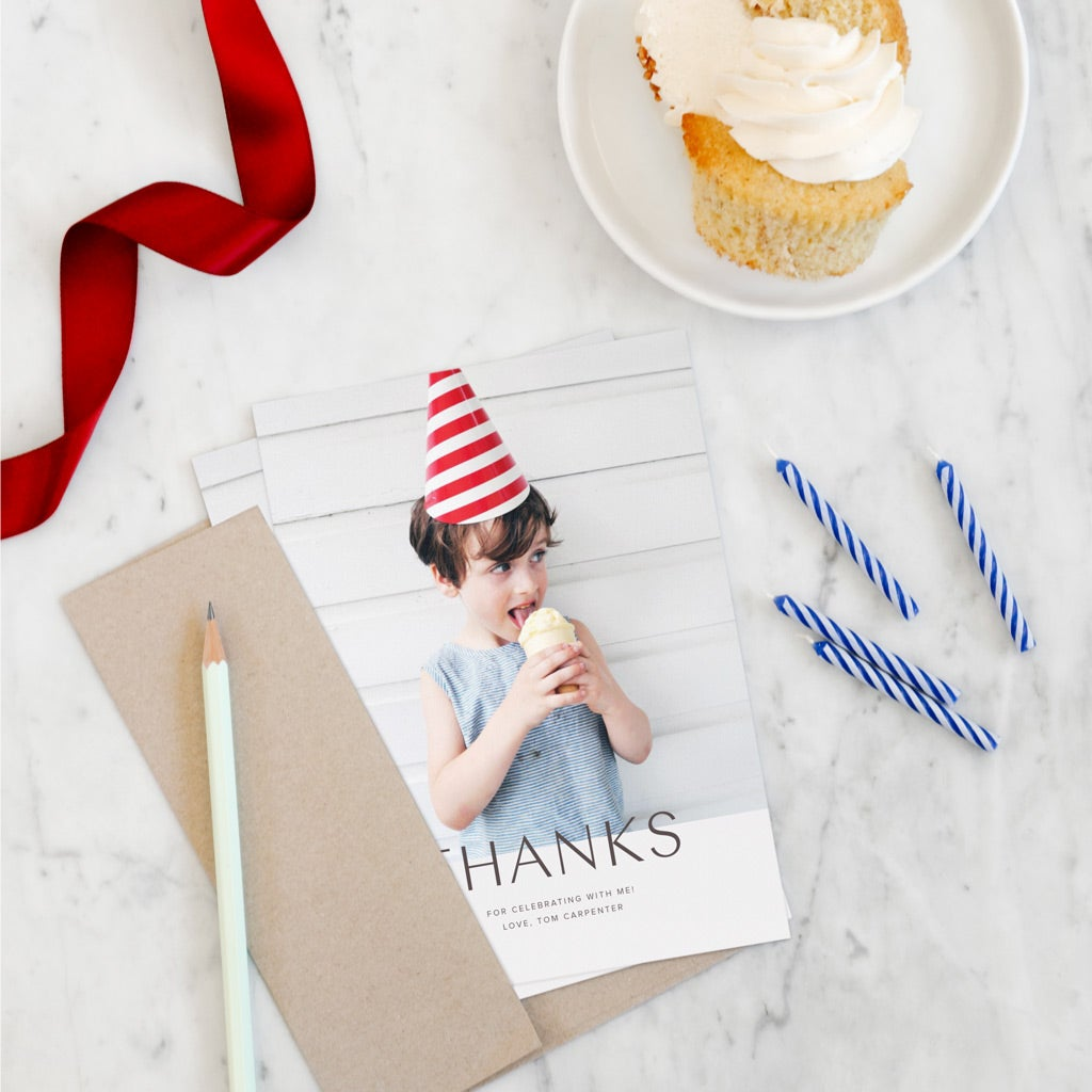 Thank you card with little boy who just had a birthday