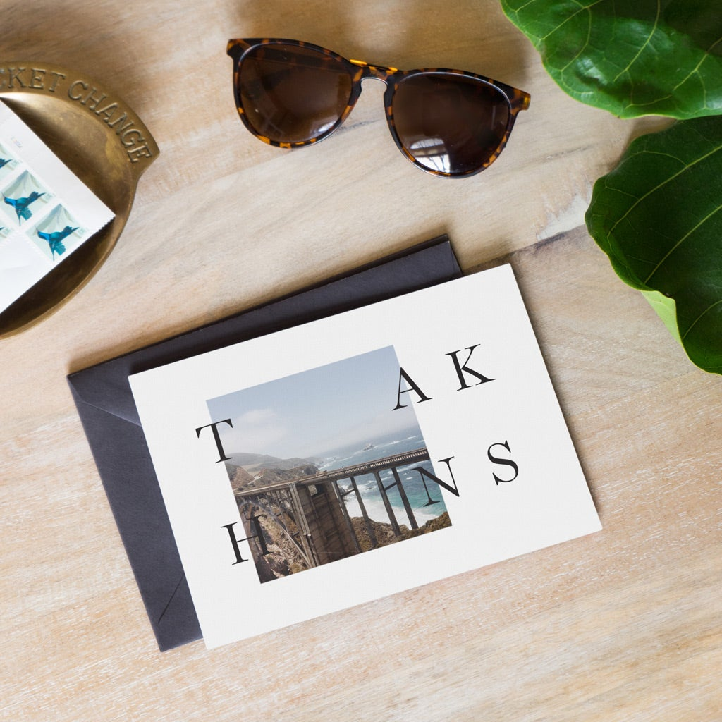 Thank you card for interview with landscape photo on front