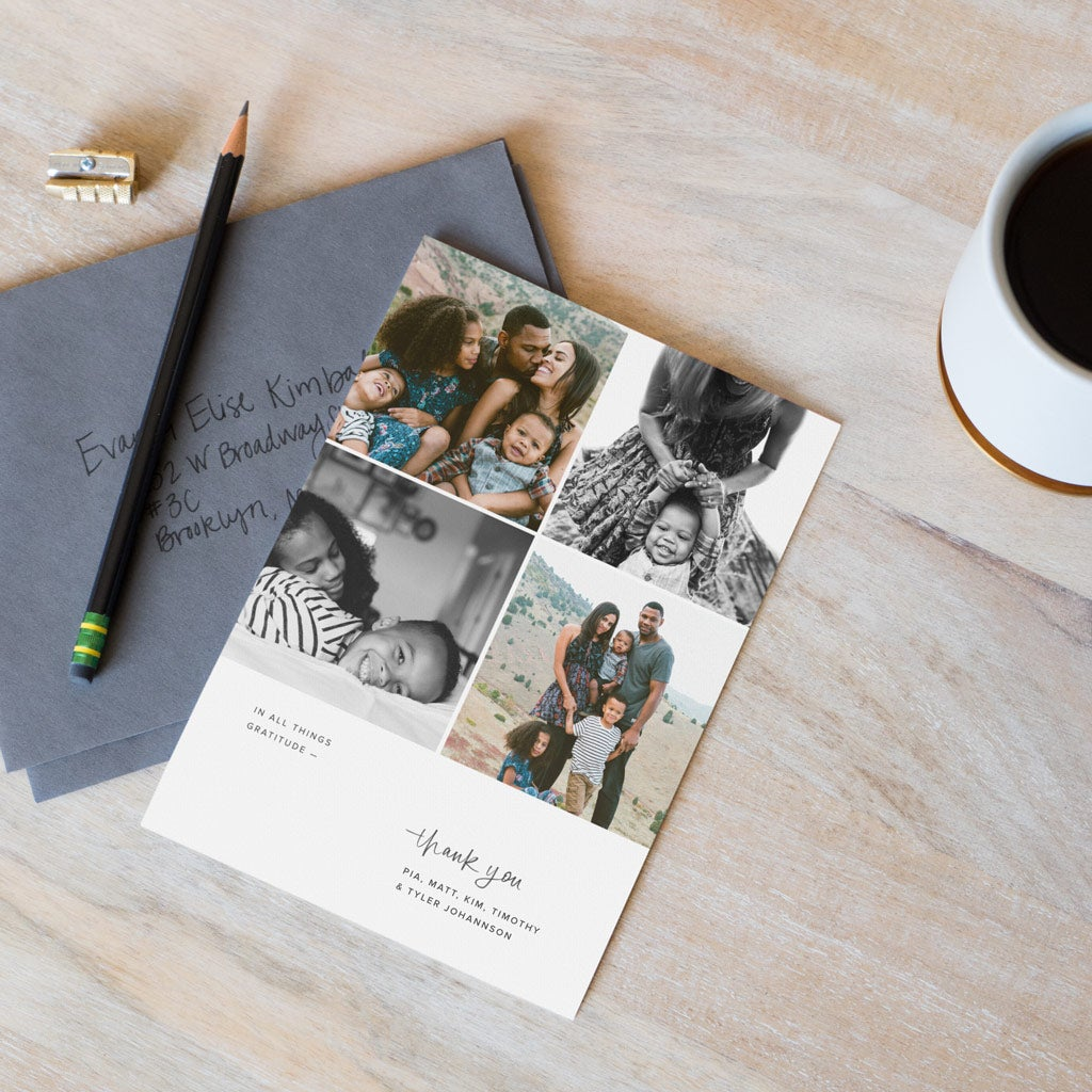 Personalized thank you card with images of a family
